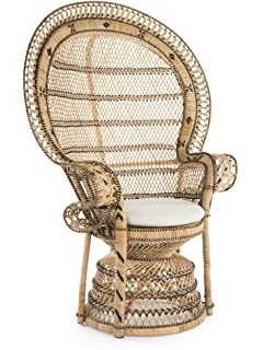 Delicieux Kouboo 1110024 Grand Pecock Retro Peacock Chair In Rattan With Seat  Cushion, Natural Color,