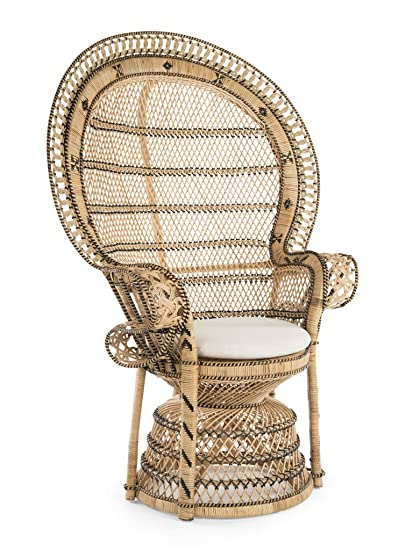 Beau KOUBOO 1110024 Grand Pecock Chair Retro Peacock Rattan With Seat Cushion,  Natural Color, Large