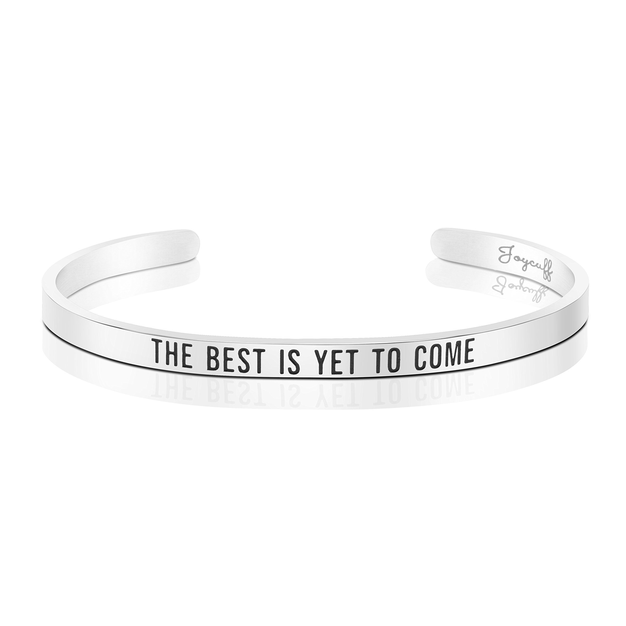 Joycuff Gifts for Her Mantra Cuff Bracelets for Women Daily Reminder Motivational Jewelry The best is yet to come