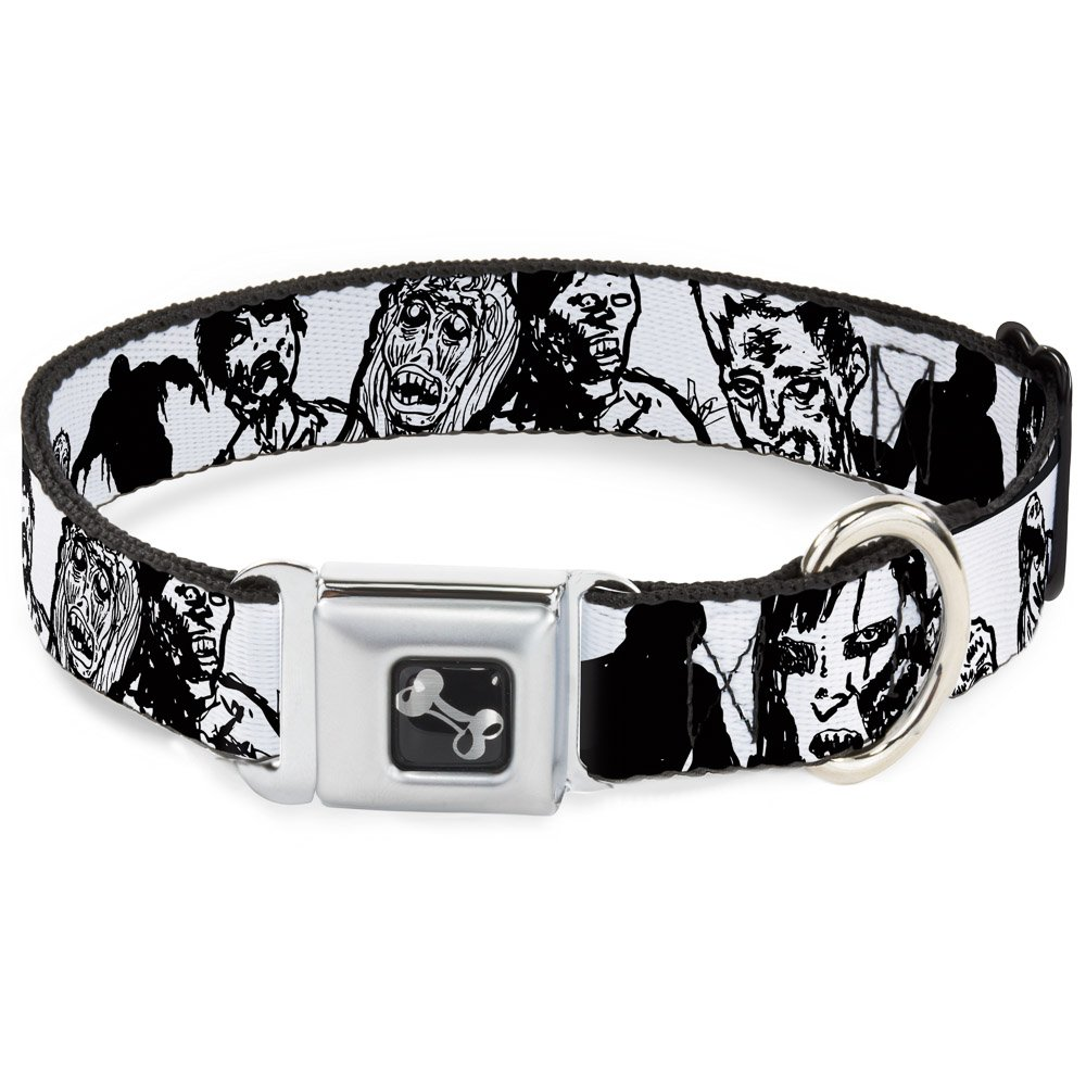 Buckle-Down Seatbelt Buckle Dog Collar Zombies White Black 1.5  Wide Fits 18-32  Neck Large