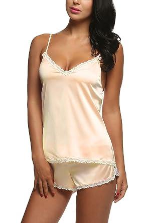 a9ff65e924 Skylin Sleeveless Sleepwear for Women Sexy Lace Baby Doll Set Nighties  (Beige