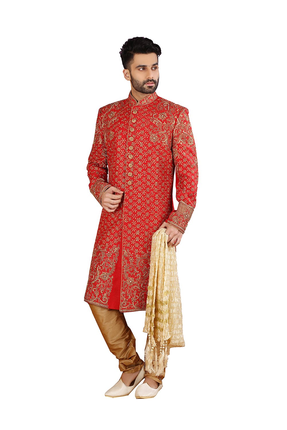 PinkCityCreations PCC Mens Indo Western Wedding Red Designer Partywear Traditional R-25414