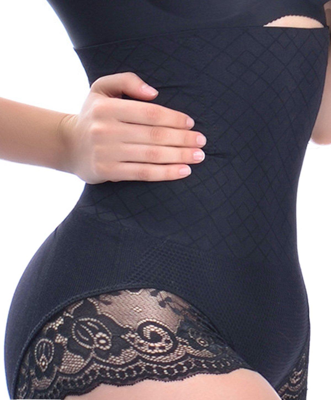 Women High Waist Tummy Control Underwear Body Shaper Panties Shapewear Thong Slimming Butt Tifter Girdle Waisted Briefs (Black, XL-2XL)