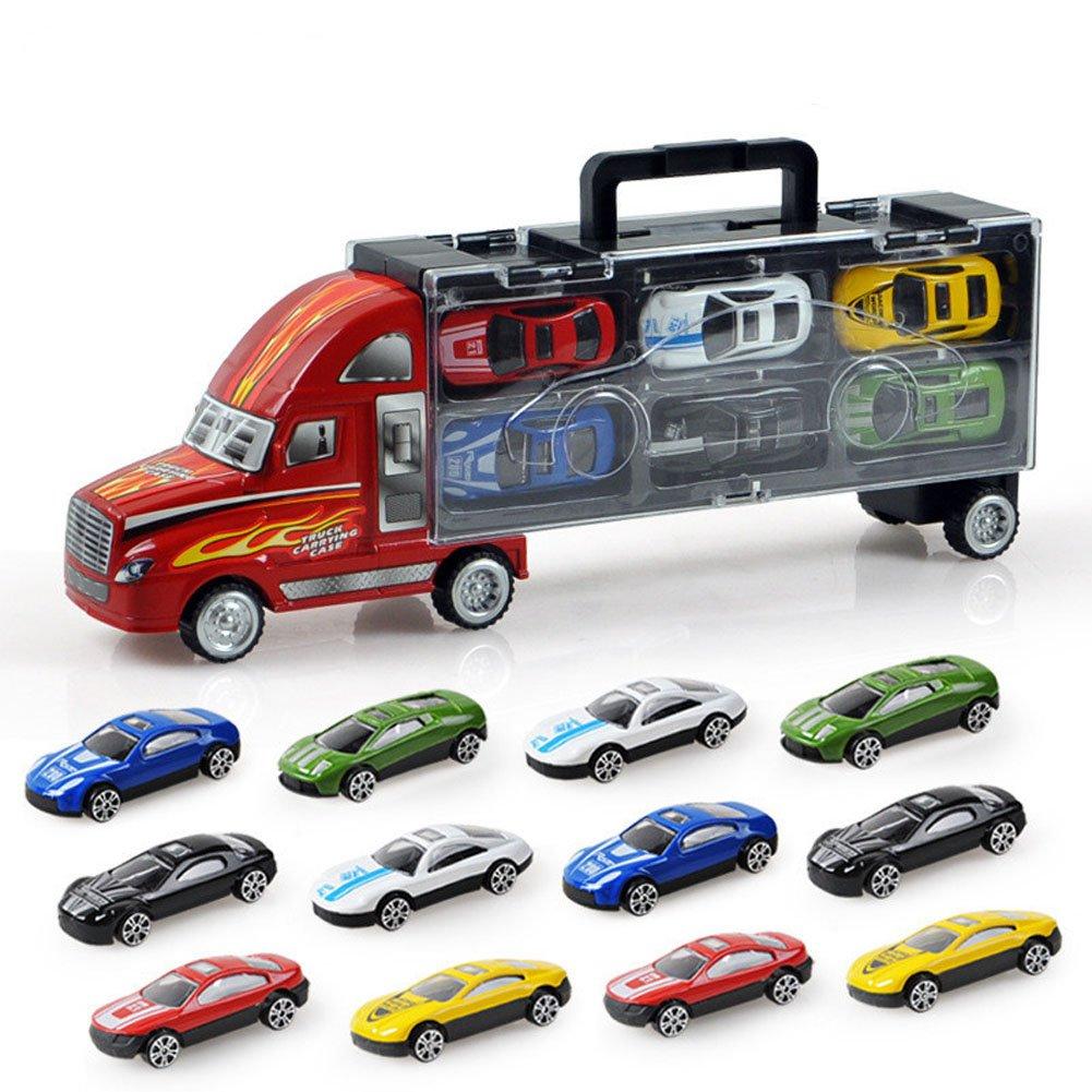 Kawo Transport Car Carrier Truck Toy for Boys includes 12メタルCarsハンドヘルドギフトパッケージ B01LGHI4O4