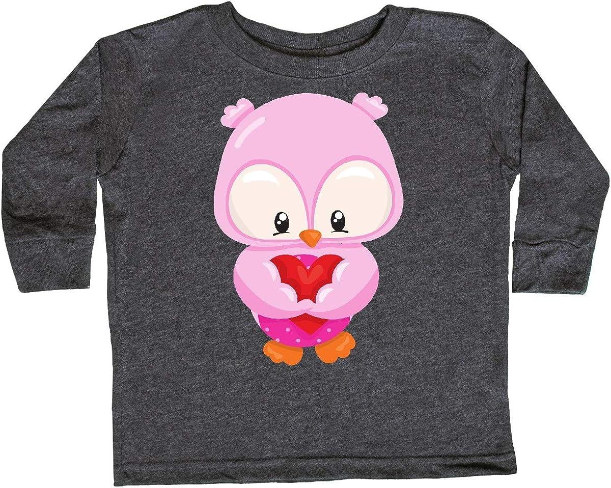 inktastic Cute Owl Holding a Heart Love Toddler Long Sleeve T-Shirt Pink Owl