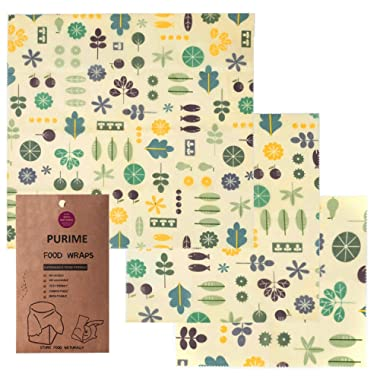 Beeswax Wrap Stores Food Naturally with Zero Waste 1 Large, 1 Medium and 1 Small (3 Pack)