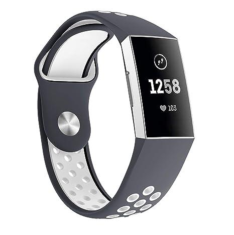 HEYSTOP Compatible Fitbit Bracelet Charge 3,Silicone Respirant Réglable Sangle de Sport de Rechange Accessoire Bande Bracelet pour Fitbit Charge 3 ...