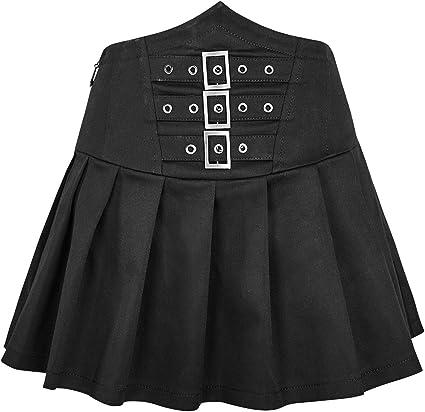 Falda Corta Plisada Negra cinturón laçage y Correas gótica, Punk ...