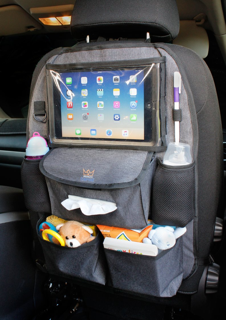 amazoncom backseat car organizer for kids toys baby wipes with x large ipad tablet holder bonus hook luxury durable fabric plenty of storage