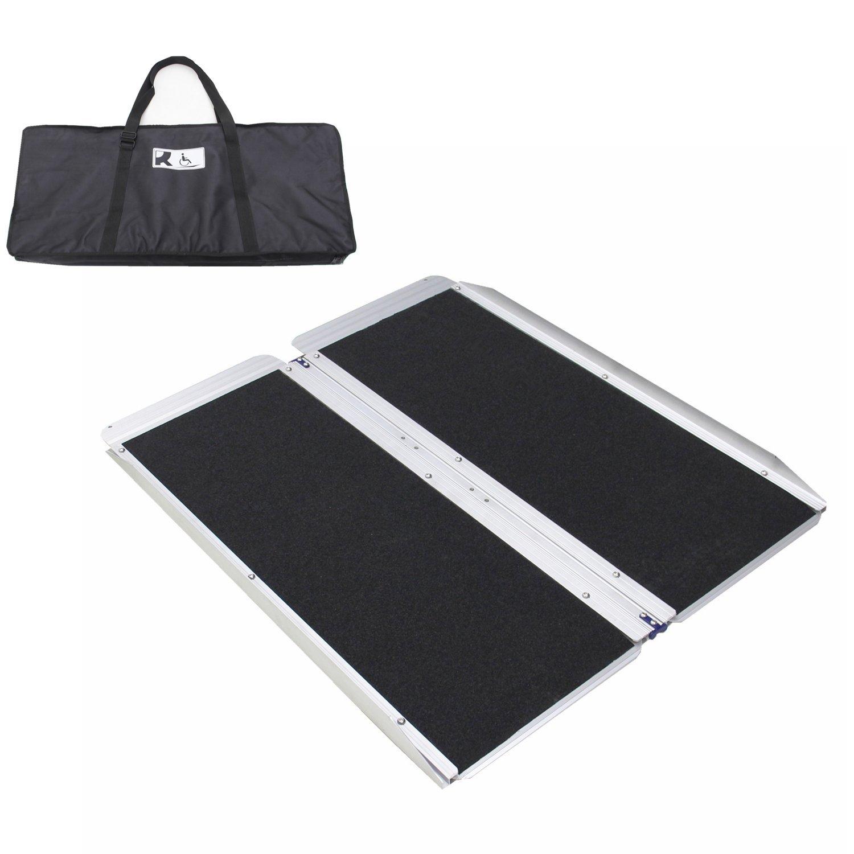Ruedamann 3' x 30'' Non-Skid Aluminum Folding Portable Wheelchair Ramp with Bag (MR607W-3)