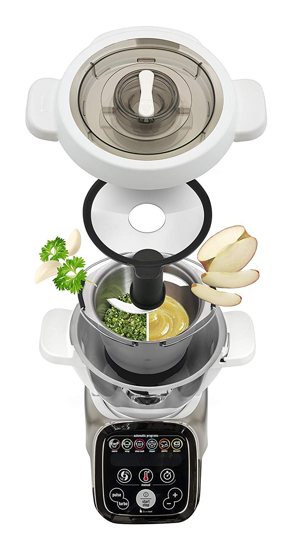 Moulinex i-Companion HF900110 - Robot de cocina Bluetooth 13 programas, 6 accesorios capacidad 6 personas, cuchilla picadora, batidor, mezclador, amasador, ...