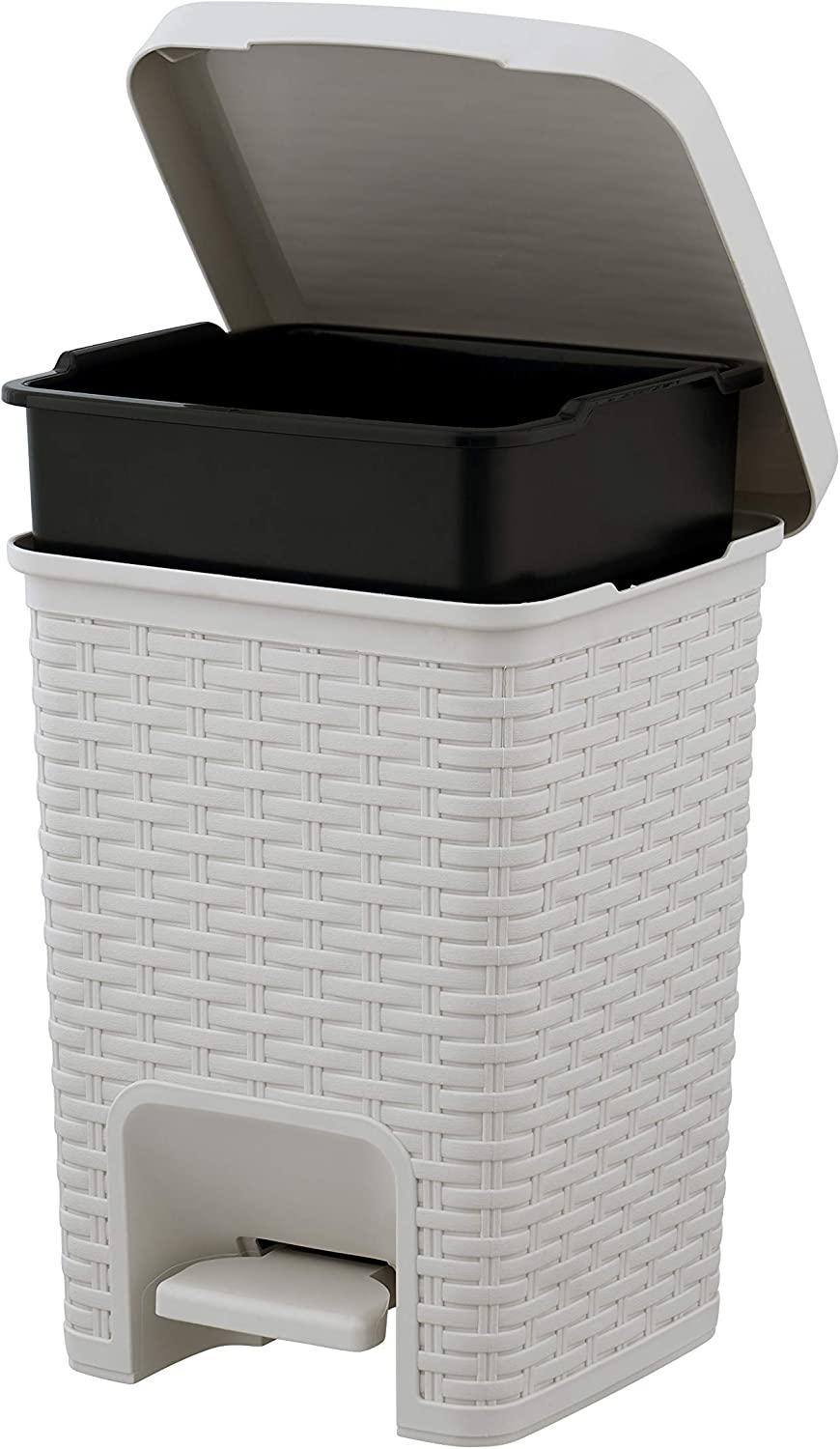 Superio Square Pedal Trash Can 7.5 Qt Ivory Beige - Wicker Style Compact Trash Can for Small Spaces, Small Trash Bin Rattan Look