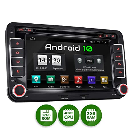 XOMAX XM-10GA Radio de Coche con Android 10 Adecuado para VW Seat Skoda I 4Core, 2GB RAM, 32GB ROM I GPS I Soporte WiFi, 3G, 4G, Dab+, OBD2 I ...