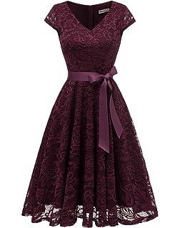 b18df0f724d BeryLove Women s Floral Lace Short Bridesmaid Dress Cap Sleeve Cocktail  Party Dress