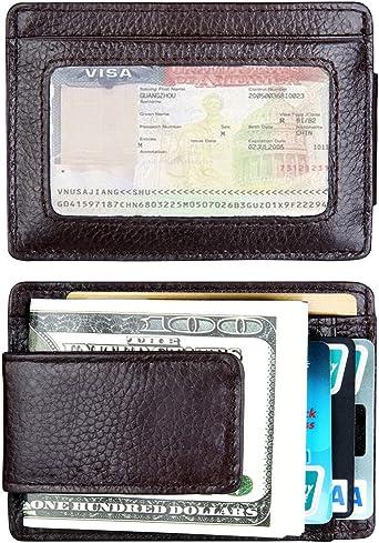 Money Clip Front Pocket Leather Wallet for Men RFID Blocking Magnet Slim...