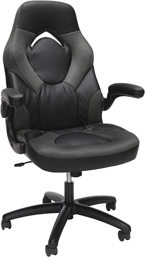 Amazon Com Ofm Ess Collection Racing Style Bonded Leather Gaming Chair In Gray Ess 3085 Gry Furniture Decor