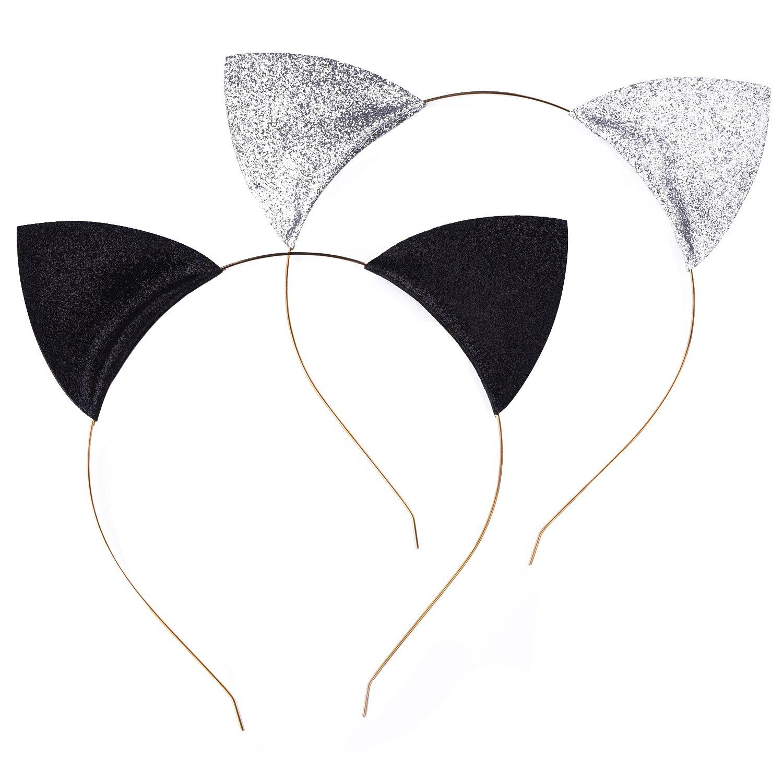 Serre-têtes Bandeau en Oreilles de Chat Décoré pour Partie et Quotidien Port, Noir et d'Argent, 2 Pièces Noir et d' Argent Mudder-Headbands-01