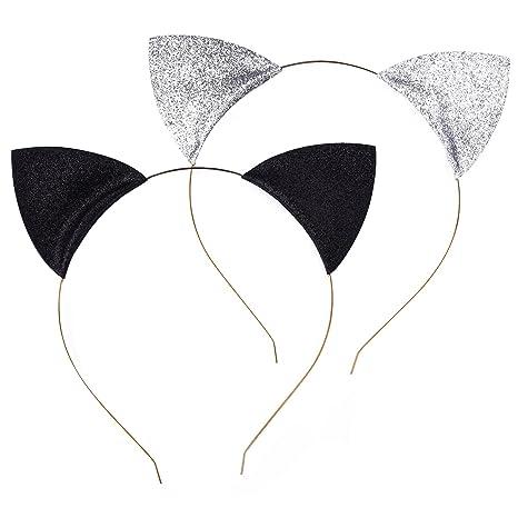 Diademas de Orejas de Gato Brillante Hebillas de Pelo para Fiesta y Vestido Diario, Negro