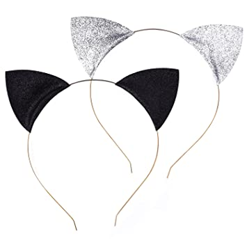 6fae2ba0b239 Glitter Cat Ears Headbands Cats Ear Hair Hoops Clasps for Party and Daily  Wearing, Black