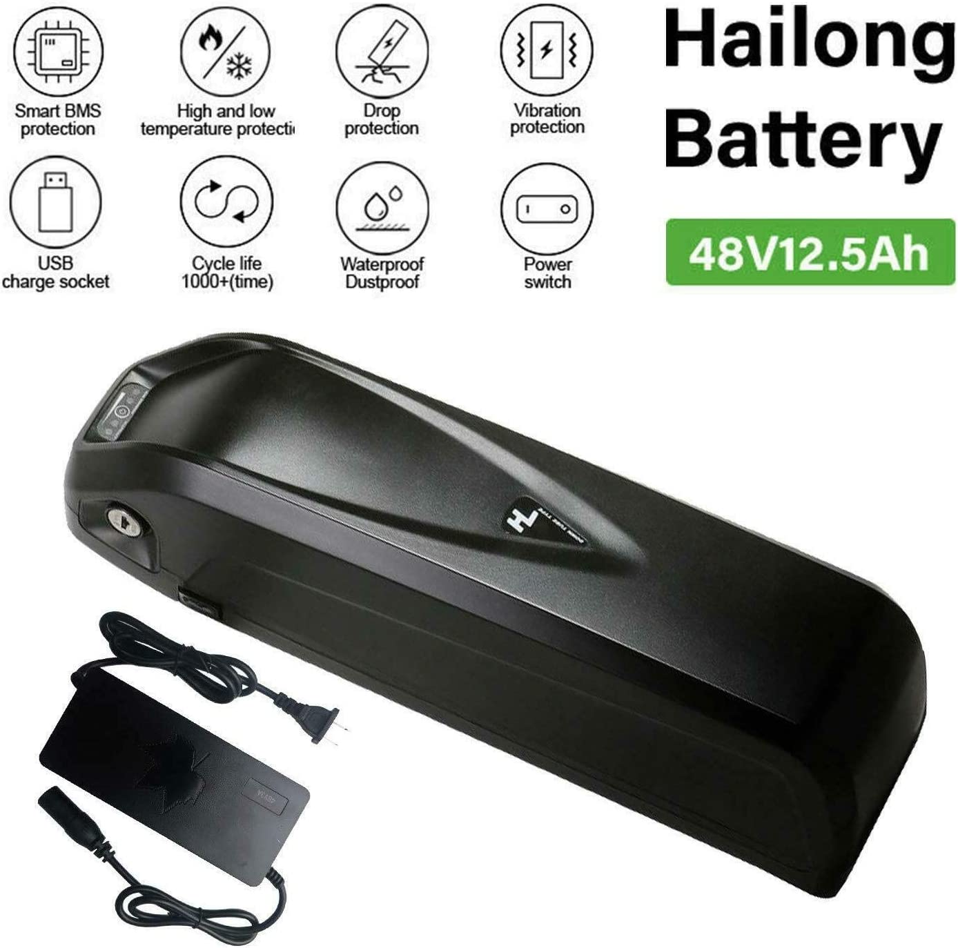 YiiYYaa 48V 12.5Ah HaiLong Ebike Battery Downtube Lithium Battery with USB Port, Electric Bike Battery for 500 750 1000W Motor