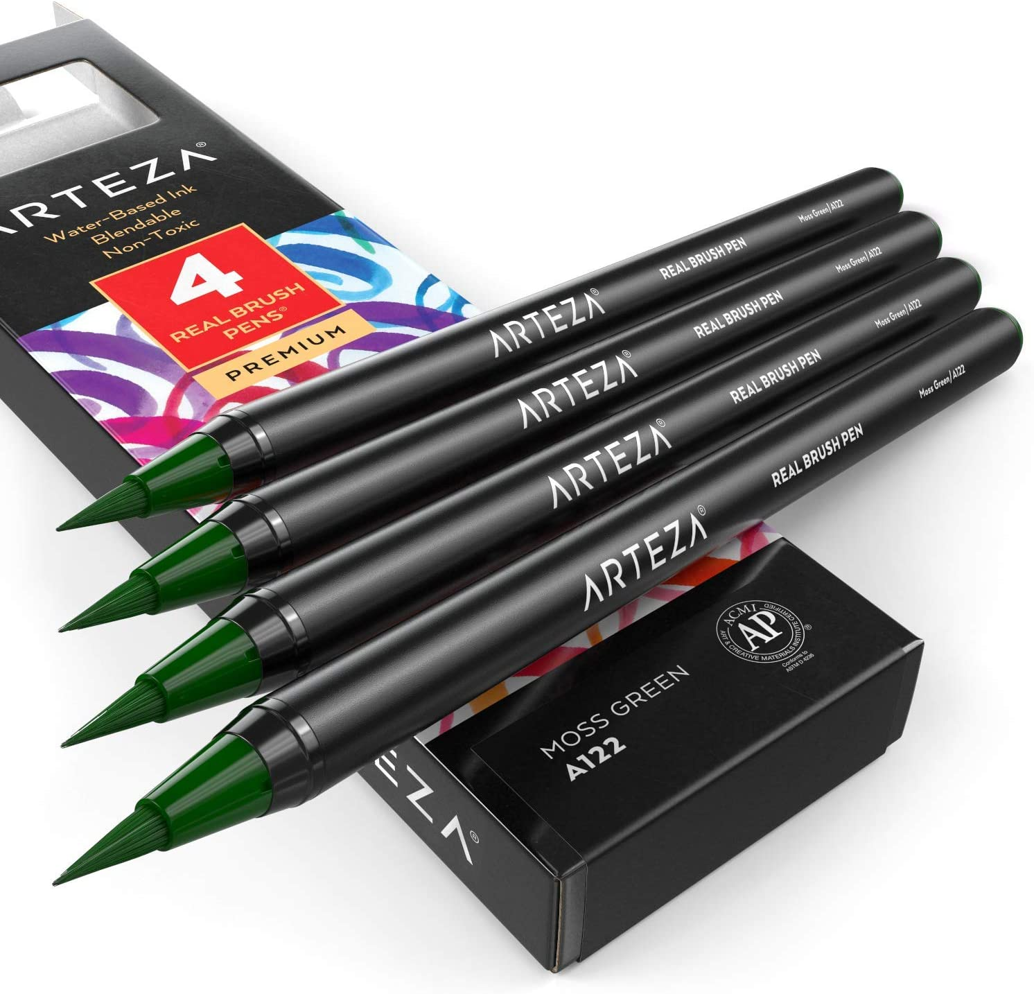 Arteza Real Brush Pens, A122 Moss Green, Pack of 4, Watercolor Pens with Nylon Brush Tips, Art Supplies for Dry-Brush Painting, Sketching, Coloring & Calligraphy