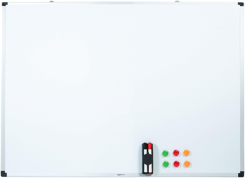 150 cm x 100 cm Basics Tableau blanc magn/étique avec cadre en aluminium et porte-marqueurs Effa/çable /à sec