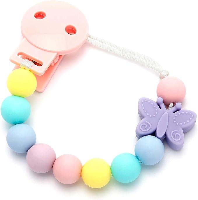 mamimemima Pack Chupetero Mordedor Silicona Baby Mapache Mint Chupetero Mordedor de Silicona Antibacteriana//Alivio en la etapa de dentici/ón