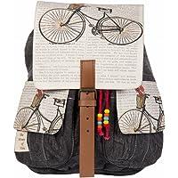 The House of tara Women's Backpack Handbag (HTBP 047,Grey-Beige)