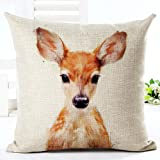 Animal wild boar owl fox panda bear and cat Pillow Case Cotton Blend Linen Cushion Cover Sofa Decorative Square 18 Inches family life (1)
