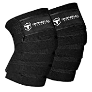 """Iron Bull Strength Knee Wraps (1 Pair) - 80"""" Elastic Knee and Elbow Support & Compression - for Weightlifting, Powerlifting, Fitness, WODs & Gym Workout - Knee Straps for Squats"""