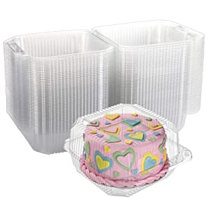 Yarlung 50 Pack 5x5 Inch Plastic Hinged Food Containers, Disposable Takeout Boxes Clear Clamshell Tray for Dessert, Cakes, Cookies, Salads, Pasta, Sandwiches