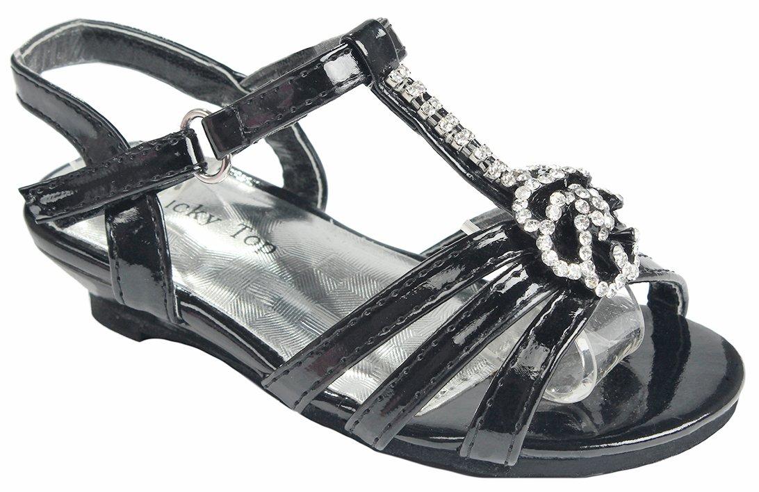 Baby Girls Toddlers Fine Black T-strap Gem Floral Crystal Rhinestone Low Wedge Dress Sandal Shoes-7