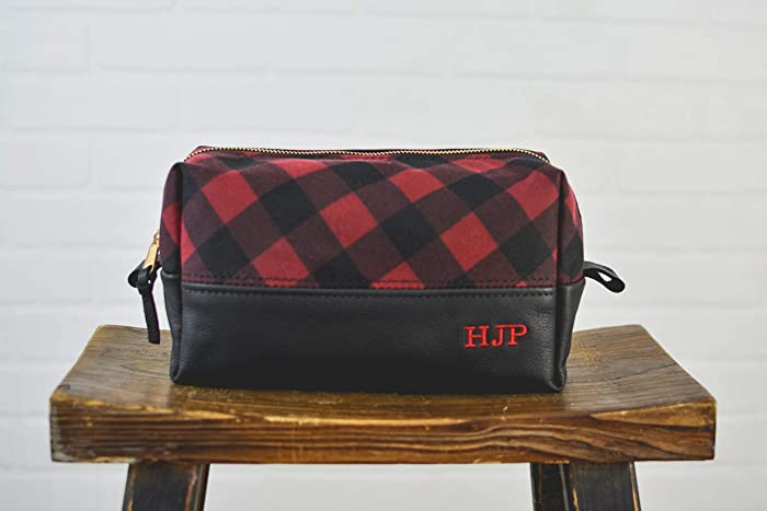 Personalized Black Leather and Buffalo Plaid Canvas Dopp Kit Personalized  Groomsmen Gift   Monogram Leather Mens Toiletry Bag Wash Bag Travel Case    Gift ... 43a279b373