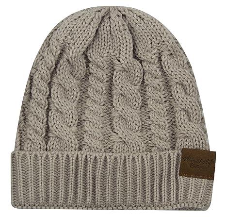 acc7f54a8fb Minakolife Women Warm Fleece Lining - Thick Slouchy Cable Knit Skull Hat  Beige  Amazon.co.uk  Clothing