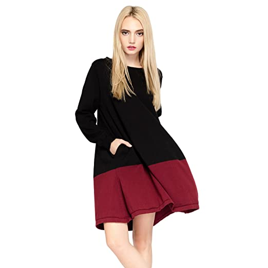 23fb48f9af Image Unavailable. Image not available for. Color  HOTER Sweater Dresses  Knit Oversize Jumper Top Long Sleeves Black Red Stitching