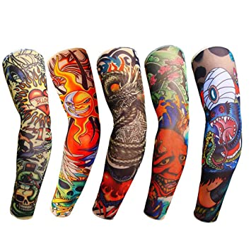 Men's Arm Warmers Men Fake Tattoo Sleeves Cover Unisex Party Body Art Temporary Sunscreen Tiger Skull Clown Digital Printing Arm Warmer Protector