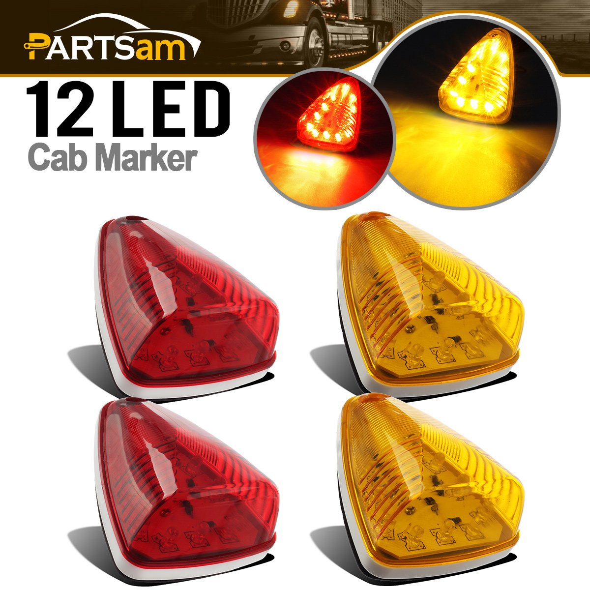 Partsam 2xRed+2xAmber 12LED Car Truck Bus RV Cab Marker Clearance Lights Assembly M20311
