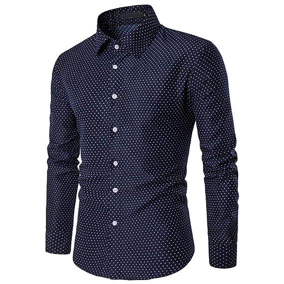 Moda 2018 Camisa Hombre M~3XL,Camisetas Casuales de impresión Lunares Blusas de Slim