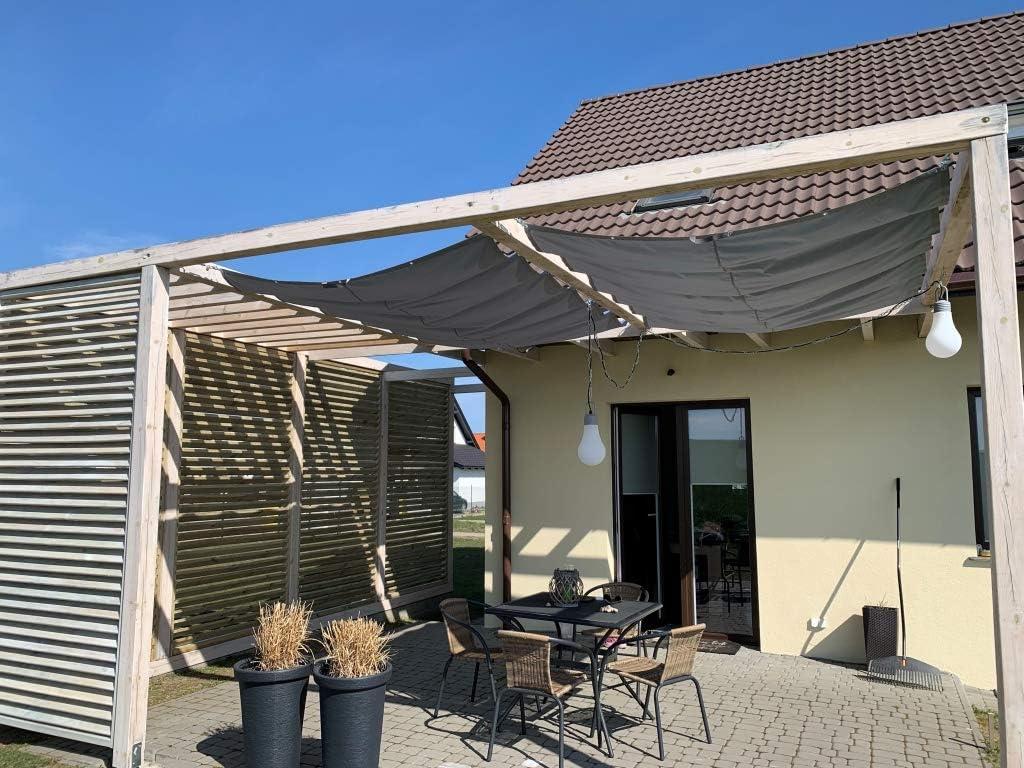 SunShade. Toldo retráctil resistente al agua, tamaño: 2,5 x 5 m, color gris