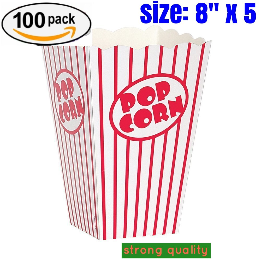 popcorn box cardboard Red and White Striped Popcorn Boxes Popcorn Bucket for Movie Theater , Carnival, party, circus,(100, 8'' x 5)