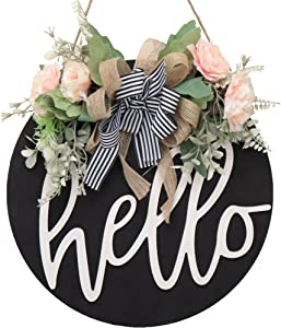 Hello Welcome Sign for Front Door Decor spring Wreaths for Front Door wreath fall wreath Outdoor wreath Farmhouse wall wreath for front door Welcome Home Sign front porch decor Christmas Decoration (B
