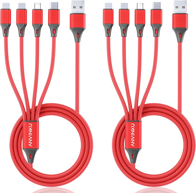 Unique Fish Background Black 3-in-1 Retractable USB Cable Type C Sync Fast Charging Cord for All Phone Tablets 2x2x0.8 Mini Square Micro USB Cable
