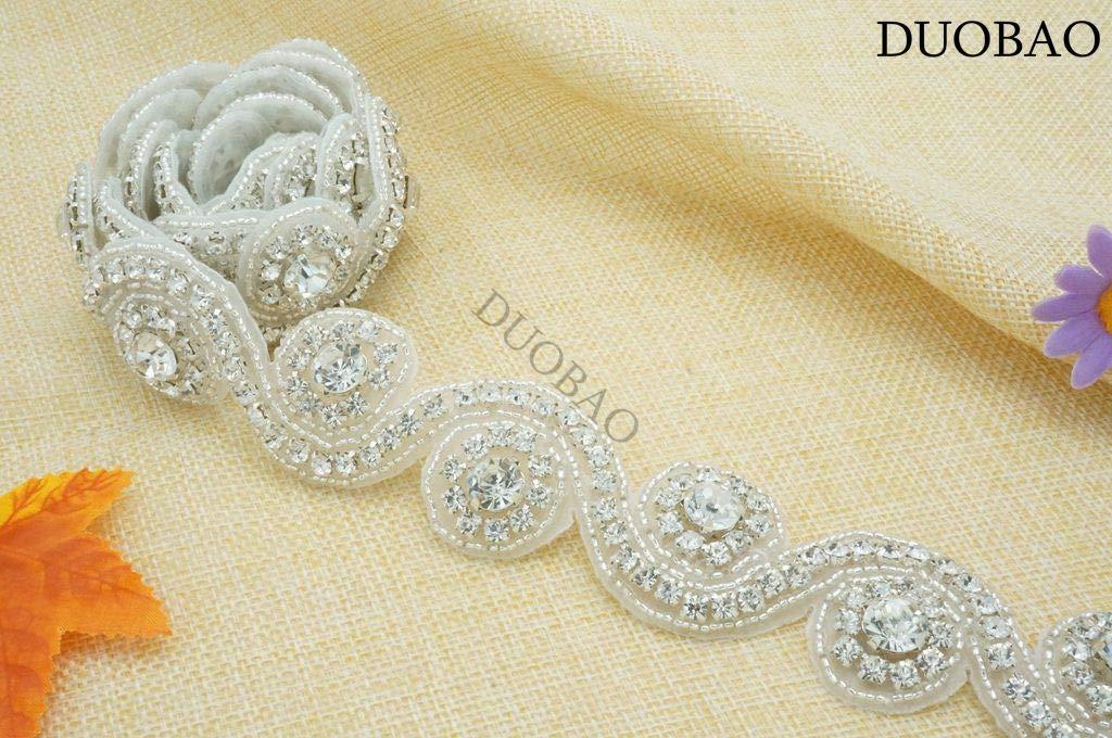 DUOBAO Rhinestone-Sash-Belt Wedding Dress Sash White Pearl Belts for Women Rhinestone Embellishments Rhinestone Applique with Crystal Trim by DUOBAO