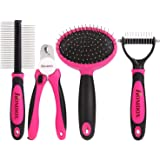 Homdox 4 Pieces Professional Dog Grooming Kit Nail Clipper, Slicker Brush, Double Sided Comb, Open Knot Comb Suit for Middle/Large Dogs Home Grooming Set