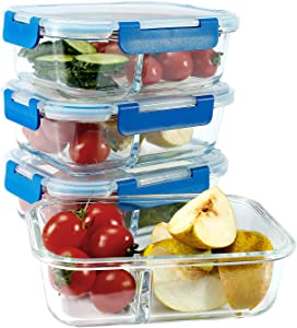LoveInLunchBox pyrex glass storage containers with lids Food Storage Stain and odor resistant Easily stackable BPA-free Divided interior for Oven microwave and dishwasher safe(32 Ounce 4 Pack B)