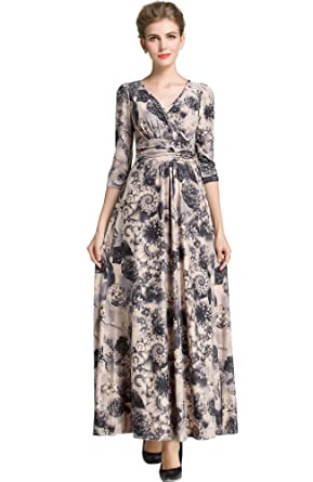 Medeshe Womens Vintage Floral Long Maxi Dress Evening Party Prom Gown (UK 8/10