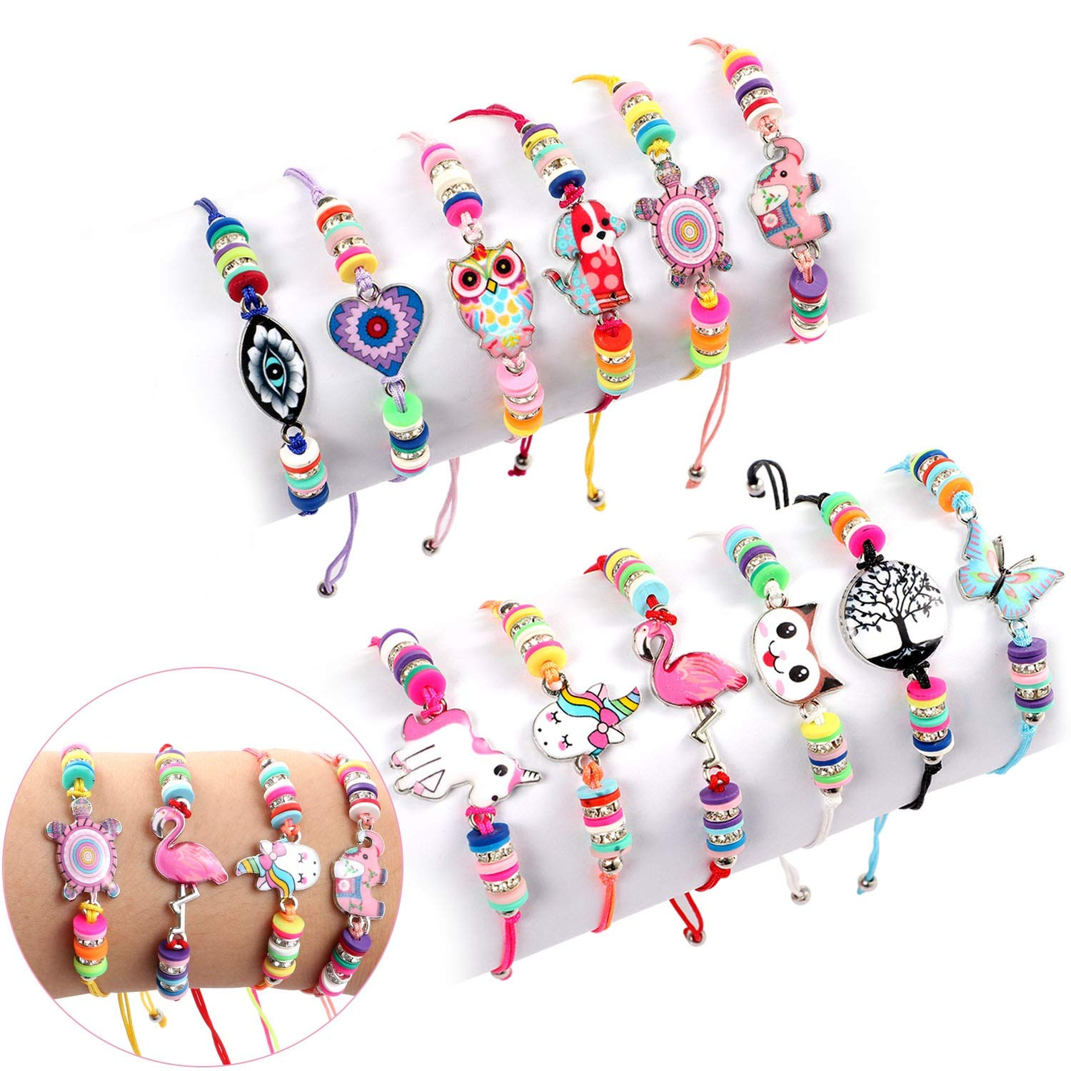 Lorfancy 12 Pcs Kids Girls Women Bracelets Jewelry Animal Pendant Unicorn Owl Cute Bracelet Multicolor Woven Bracelets for Prize Pretend Play Party Favors for Girls Kids Friendship Bracelets by Lorfancy