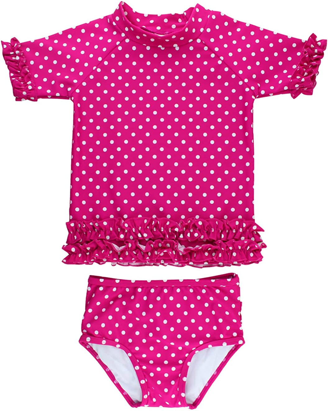 NEW Baby Girls Pink Yellow Frill Swimming Costume Swimsuit Age 12-18 Months A12
