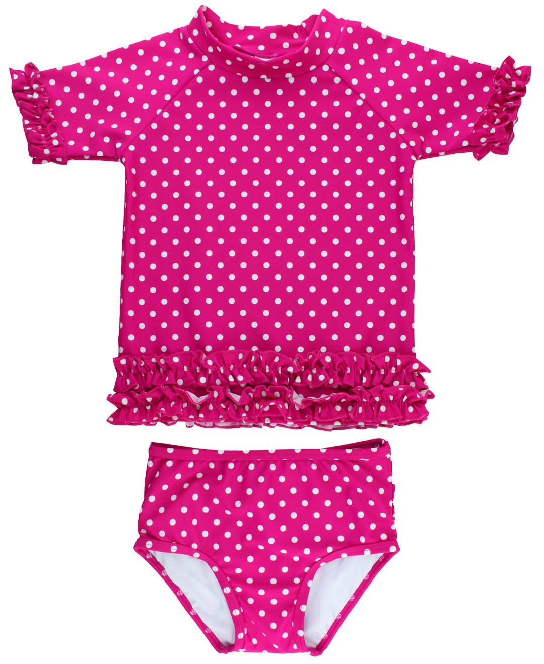 RuffleButts Little Girls Rash Guard 2-Piece Swimsuit Set - Berry Polka Dot Bikini with UPF 50+ Sun Protection - 3T by RuffleButts (Image #5)