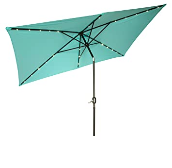 Elegant Rectangular Solar Powered LED Lighted Patio Umbrella   10u0027 X 6.5u0027   By  Trademark